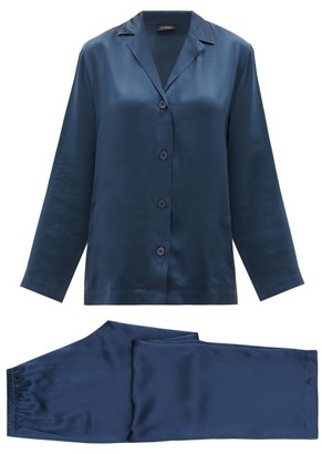 La Perla Silk-charmeuse Pyjamas - Dark Blue