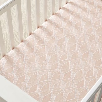 west elm Organic Deco Geo Crib Fitted Sheet - Pink