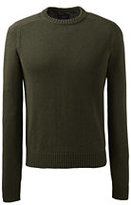 Lands' End Men's Drifter Cotton Crewneck Sweater-Forest Heather