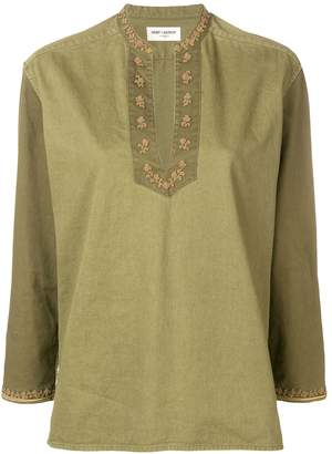 Saint Laurent embroidered cotton gabardine tunic