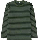 Uniqlo Men Washed Striped Crewneck Long Sleeve T-Shirt
