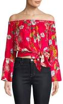 Parker Georgina Floral Off-The-Shoulder Bell-Sleeve Silk Blouse