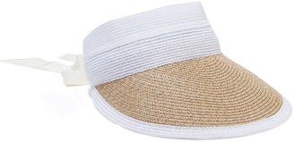 Eugenia Kim Ricky Grosgrain-trimmed Two-tone Faux Straw Visor