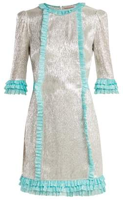 The Vampire's Wife Cate Metallic Silk Blend Chiffon Mini Dress - Womens - Silver Multi