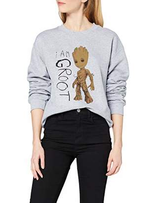 Marvel Women's Guardians of The Galaxy Vol.2 I Am Groot Scribbles Sweatshirt,8 (Size:S)