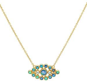Gurhan 24K/22K/18K Yellow Gold Opal & Blue Topaz Juju Pendant Necklace, 16-18