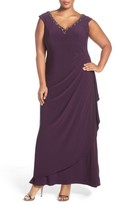 Alex Evenings Plus Size Women's Embellished V-Neck Side Drape Jersey Gown