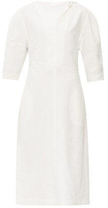 Jil Sander Front-slit Balloon-sleeve Poplin Dress - Womens - Ivory