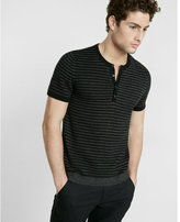 Express Striped Short Sleeve Henley Sweater