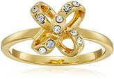 Kate Spade Bow Clear/Gold-Tone Ring, Size 7