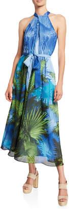 Julia Jordan Tropical-Print Halter-Neck Maxi Dress