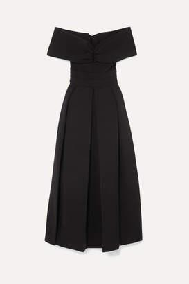 Preen by Thornton Bregazzi Daniela Off-the-shoulder Ruched Cady Dress - Black