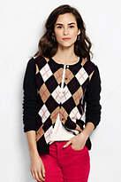 Lands' End Women's Tall Cashmere Cardigan Sweater-Black/Ivory Argyle