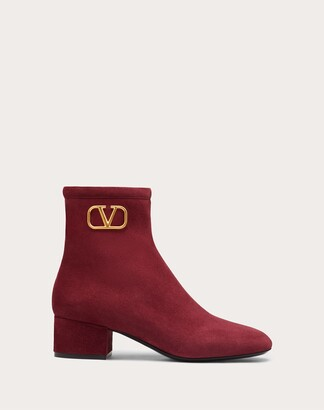 Valentino Vlogo Signature Suede Ankle Boot 45 Mm / 1.8 In. Women Cherry Lambskin 100% 35