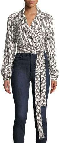 Diane von Furstenberg Printed Silk Long-Sleeve Wrap Blouse