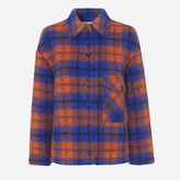 Mads Norgaard Blue Orange Checky Wool Cabsy Coat - EU 40 | UK 14