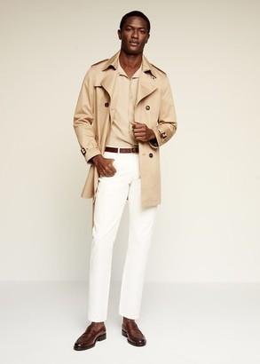 MANGO MAN - Linen-blend short-sleeve shirt beige - L - Men