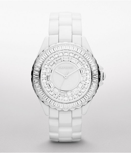 Express Analog Ceramic Bracelet Watch - White