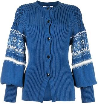 Mame Kurogouchi Intarsia-Knit Sleeve Cardigan