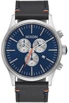 Nixon 'Sentry' Chronograph Leather Strap Watch, 42mm