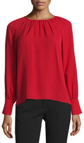 Derek Lam Pleated Long-Sleeve Blouse, Red