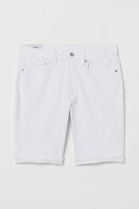 H&M Slim Denim Shorts - White