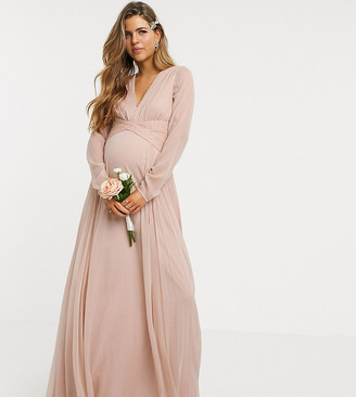 ASOS DESIGN Maternity Bridesmaid ruched waist maxi dress with long sleeves and pleat skirt in blush