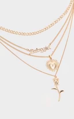 PrettyLittleThing Gold Baby Girl Slogan And Charm Multi Layering Chain Necklace
