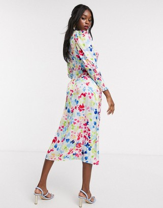 NEVER FULLY DRESSED long shirred sleeve midi dress in contrast neon fleck print