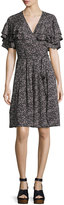 Rebecca Taylor Sweet Briar Short-Sleeve Mini Dress, Black Pattern