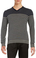 Black Brown 1826 Striped V-Neck Sweater