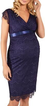 Tiffany Rose Maternity Imogen Surplice Cap-Sleeve Eyelash Lace Shift Dress