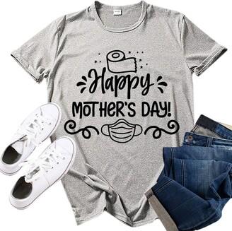 jieGorge Blouse Women Elegant Women's Fashion Happy Mother's Day Print O-Neck Short Sleeve Top Shirt