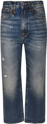 R 13 Cropped Length Wide Leg Jeans
