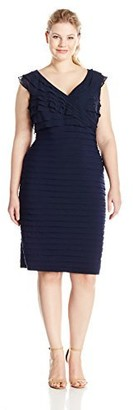 Adrianna Papell Women's Plus-Size Shutter Jersey and Chiffon Dress