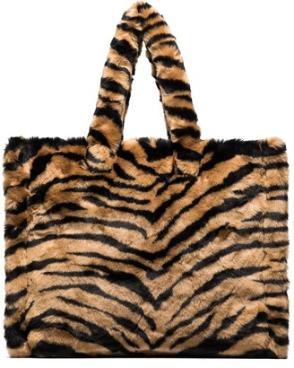 Stand Studio Lola tiger-stripe faux fur tote bag
