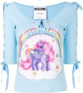Moschino My Little Pony print lace-up top