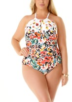 Plus Size Beautiful Bunches Printed Twist Front Underwire Tankini Top & Swim Skirt
