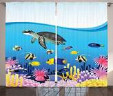 Ambesonne Whale Decor Collection, Sea Life Anemone Turtles Goldfish Snorkel Tropical Seascape Cartoon Design, Window Treatments for Kids Girls Boys Bedroom Curtain 2 Panels Set, 108X63 Inches, Blue