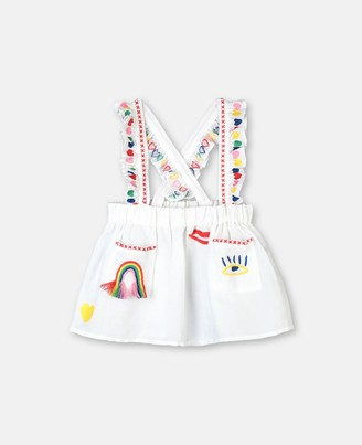 Stella McCartney Hearts Embroidery Linen Skirt, Unisex