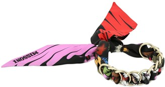 Missoni Printed Silk Scarf Bracelet W/ Chain