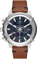Diesel Diesel Country Blue and Silver Detail Chronograph Dial Brown Leather Strap Mens Watch