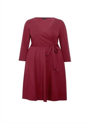 Dorothy Perkins Womens **Dp Curve Red 3/4 Sleeve Wrap Dress, Red