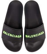 Balenciaga Rubber Logo Pool Slides in Black & Fluo Green | FWRD