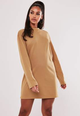 Missguided Camel Basic Long Sleeve T Shirt Dress