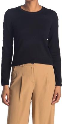 T Tahari Lace Trim Crew Neck Sweater