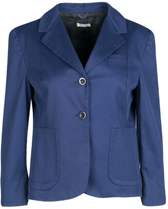 Miu Miu Navy Blue Top Stitch Detail Cropped Blazer M