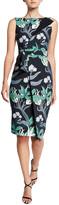 Chiara Boni Floral Sleeveless Faux-Wrap Side-Drape Dress