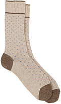 Barneys New York Men's Mini-Zigzag-Pattern Mid-Calf Socks-TAN, LIGHT BLUE