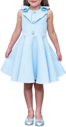 David Charles Girl's Sleeveless Textured Knit Frill-Trim Dress, Size 4-8